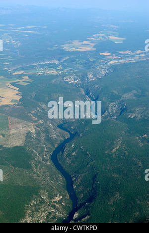 Aerial view of basses gorges du Verdon, near Quinson, Alpes de Haute Provence, France - Stock Photo
