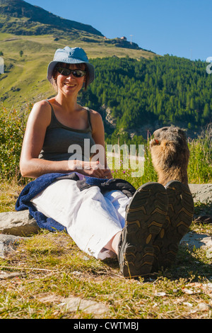 A marmot being fed carrots by a very pleased young woman in an alpine meadow. Saas Fee Switzerland. - Stock Photo