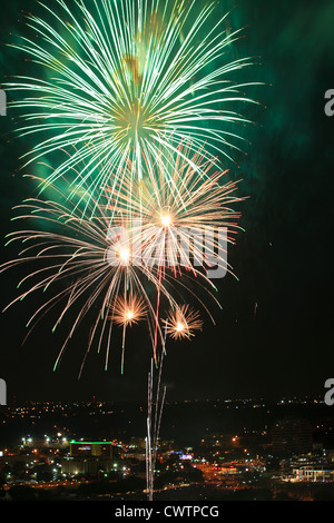 4th of July Fireworks display over Austin, Texas - Stock Photo