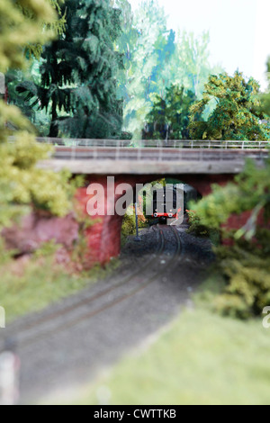 Artificial scenery of a model railway - Stock Photo