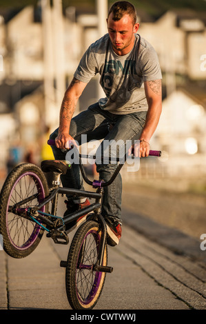 Summer evening: a young man doing a foot jam endo stunt on a BMX bike, Aberystwyth Wales UK - Stock Photo