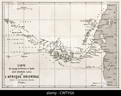 Itinerary old map from Zanzibar to Kazeh - Stock Photo
