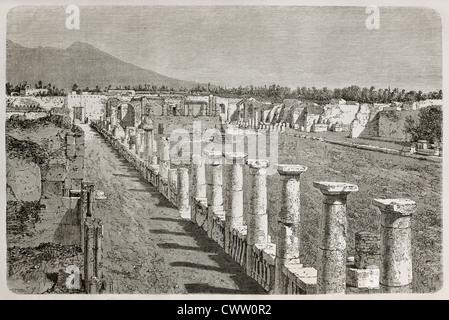 Old illustration of Temple of Venus ruins, Pompeii, Italy - Stock Photo