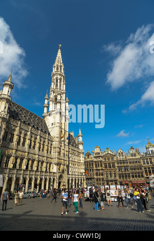 Town Hall, Grand Place,Brussels,Belgium,Europe - Stock Photo
