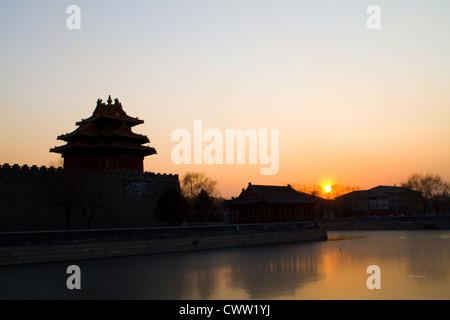 corner turret in forbidden city, Beijing China - Stock Photo