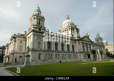 Belfast City Hall  with paraolympic Sign above centre main entrance - Stock Photo