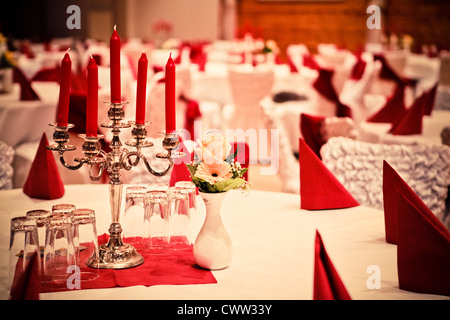 Festively laid tables - Stock Photo