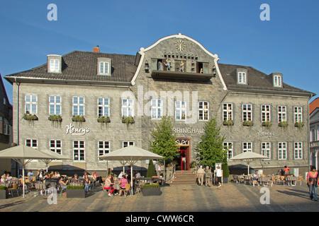 treasure chamber with mining chimes, market square, Goslar, Harz Mountains, Germany - Stock Photo