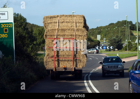 Bales of Hay on a trailer on a road,agricultural, agriculture, bale, cart, country, crop, dry, equipment, farm, - Stock Photo