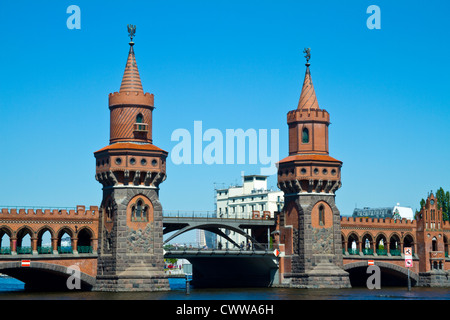Daylight picture of the Oberbaum bridge in Berlin - Stock Photo