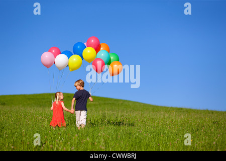 Children with colorful balloons in grass - Stock Photo