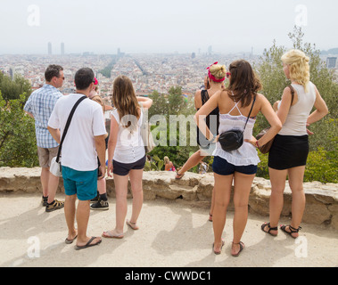 View over Barcelona from Antonio Gaudi designed Guell park in Barcelona Spain - Stock Photo