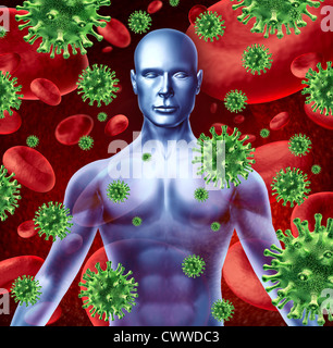 Human disease and infection representing a medical health concept of bacterial virus transfer and spread of infections - Stock Photo