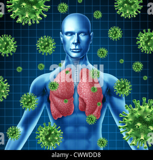 Lung infection represented by a human with x-ray image of the lungs and body with virus cells attacking the patient - Stock Photo