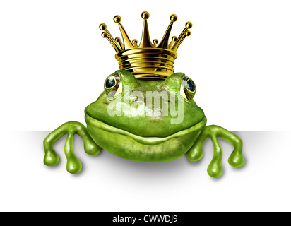 Frog prince with small gold crown holding a blank sign representing the fairy tale concept of change and transformation - Stock Photo