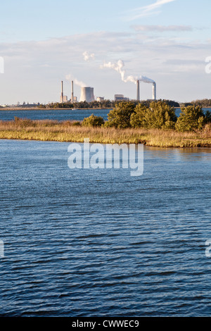 Crystal River Energy Complex with four coal powered and one nuclear powered plants in Crystal River, Florida - Stock Photo
