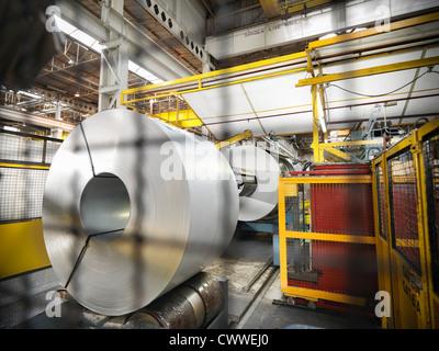 Steel rolls in car factory - Stock Photo