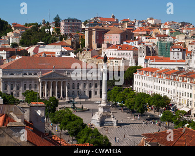 Rossio square view from top of a building, Lisbon - Stock Photo