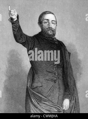 Adolf Fischhof (1816-1893) on engraving from 1859.  Hungarian-Austrian writer and politician. - Stock Photo