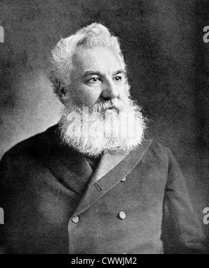 Alexander Graham Bell (1847-1922) on antique print from 1899. Scientist, inventor, engineer and innovator. - Stock Photo