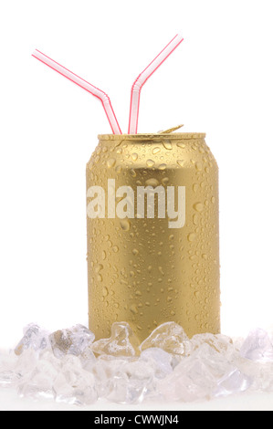 soda can with two drinking straws standing in Ice Cubes with condensation isolated on white vertical composition - Stock Photo