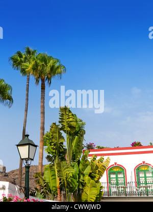 Gran canaria Puerto de Mogan white houses colonial in canary Islands - Stock Photo