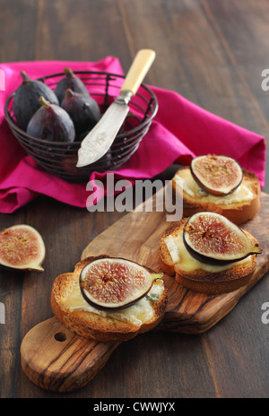 Toast with blue cheese and figs - Stock Photo