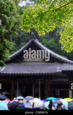 Tourists shelter from the rain under umbrellas whilst praying at a small shrine within the Golden Temple grounds - Stock Photo