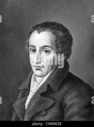 August von Kotzebue (1761-1819) on engraving from 1859. German dramatist and author. - Stock Photo