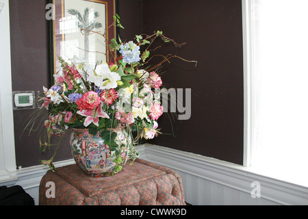 still life flowers in antique japanese vase - Stock Photo