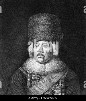 Hans Joachim von Zieten (1699-1786) on engraving from 1859.  Cavalry general in the Prussian Army. - Stock Photo