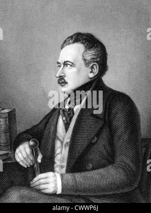 Joseph von Radowitz (1797-1853) on engraving from 1859. Prussian statesman and general. - Stock Photo