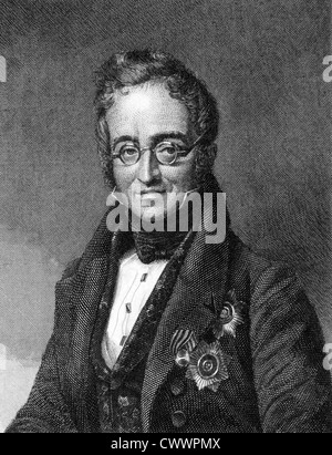Karl Nesselrode (1780-1862) on engraving from 1859.  Russian diplomat and a leading European conservative statesman. - Stock Photo