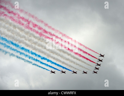 The Red Arrows Royal Air Force Aerobatic Team. - Stock Photo