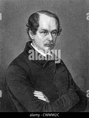 Matthias Jakob Schleiden (1804-1881) on engraving from 1859. German botanist and co-founder of the cell theory. - Stock Photo