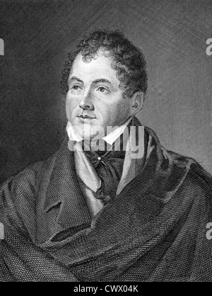 Thomas Moore (1779-1852) on engraving from 1859.  Irish poet, singer, songwriter and entertainer. - Stock Photo