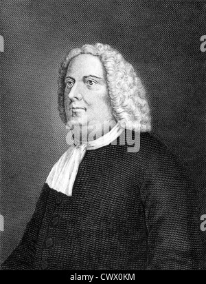 William Penn (1644-1718) on engraving from 1859.  English real estate entrepreneur and philosopher. - Stock Photo