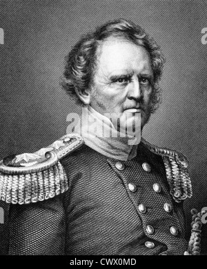 Winfield Scott (1786-1866) on engraving from 1859.  United States Army general. - Stock Photo