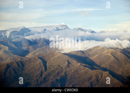 Aerial view of the mountain Mururata, Cordillera of the Andes - Stock Photo