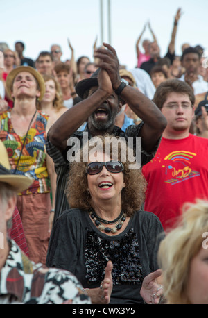 Detroit, Michigan - A crowd listens to the Preservation Hall Jazz Band at the Detroit Jazz Festival. - Stock Photo