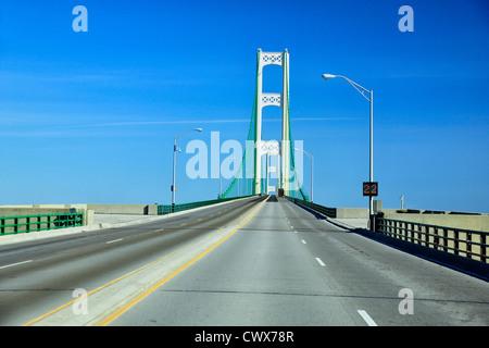 Mackinac/Mackinaw Causeway and Bridge crossing Lake Michigan, Mackinaw City, Michigan, USA - Stock Photo