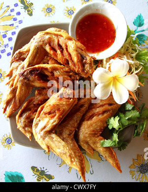 Fried Chicken wing on plate - Stock Photo