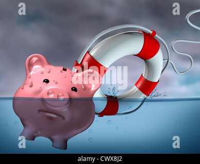 Financial Aid and rescue from debt problems and keeping your investments above water represented by a drowning pink - Stock Photo