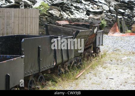 Abandoned slate trucks at Llechwedd Slate Caverns, Blaenau Ffestiniog - Stock Photo