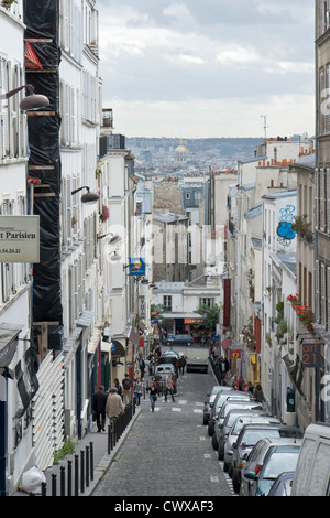 Perspective view over Paris from Montmartre - Stock Photo