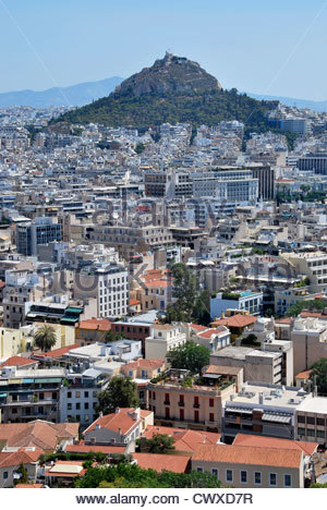 View of Athens and Lycabettus hill as seen from Acropolis. Greece - Stock Photo