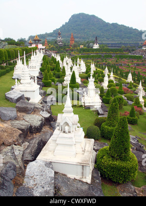 Cemetery in national park Nong Nooch in Thailand - Stock Photo