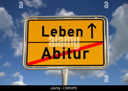 German road sign graduation and life with blue sky and white clouds - Stock Photo