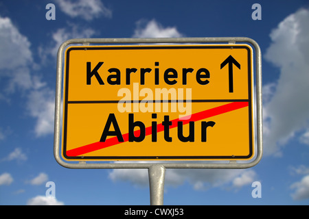 German road sign graduation and career with blue sky and white clouds - Stock Photo