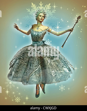 a dancing ice princess with ball gown and magic wand - Stock Photo